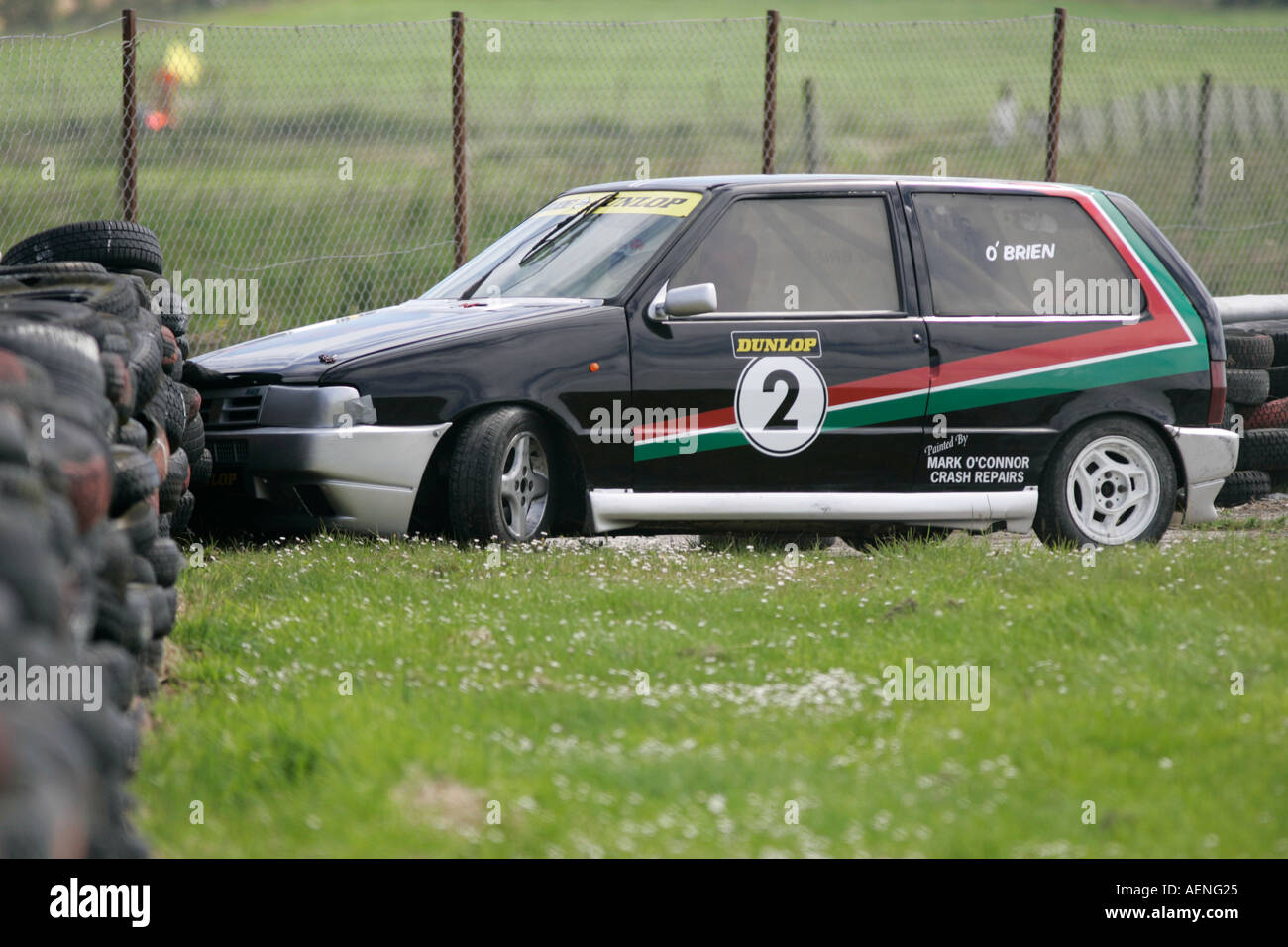 hight resolution of fiat uno racing accident into tyre wall tire at kirkistown circuit county down northern ireland