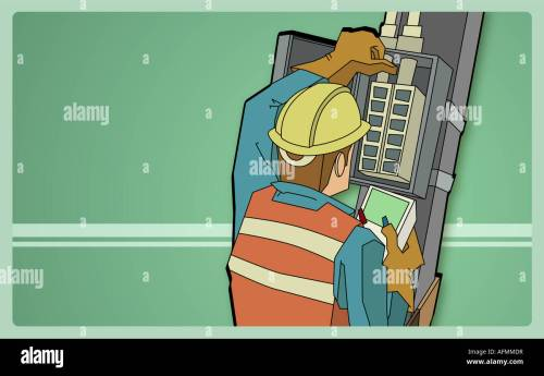 small resolution of electrician examining a fuse box with a meter