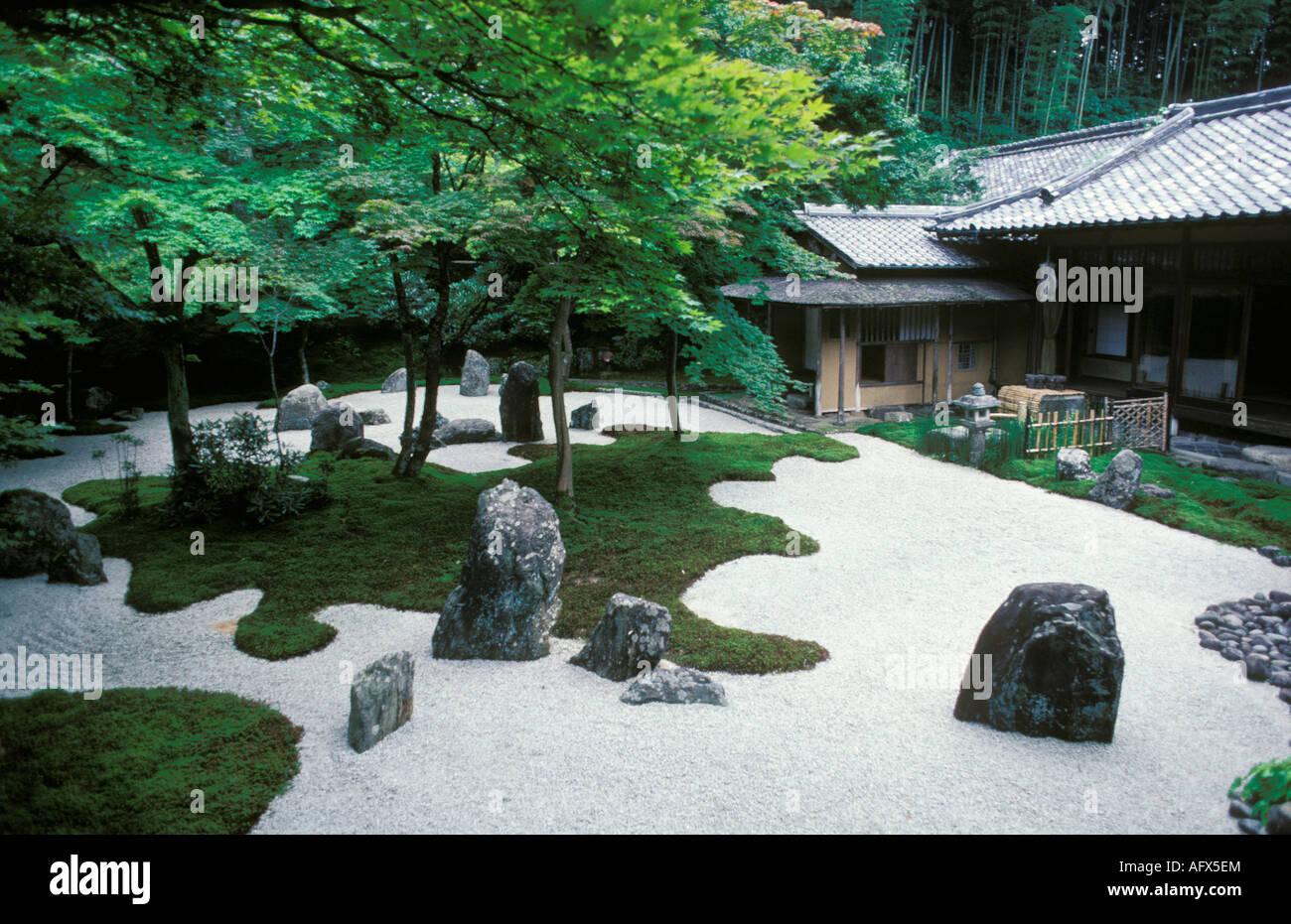 Japan Hiroshima House with Japanese Zen garden Stock Photo