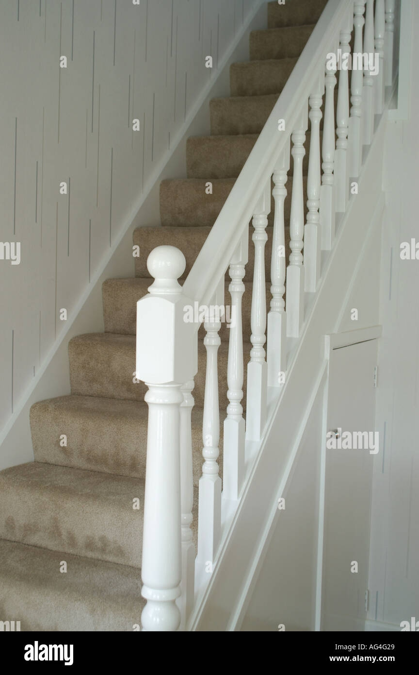 White Stair Case With Ballustrade Showing Newel Post And Spindles | Stair Posts And Spindles | Stairway | Newel Post | Inexpensive | Rectangular | Railing