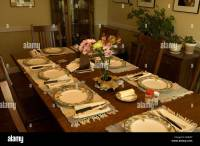 Dining Room Table Set Up for Meal Stock Photo: 14130657 ...