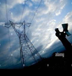 construction electrical worker studies plans beneath high voltage power lines stock image [ 1300 x 954 Pixel ]