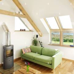 Living Room With Log Burner Ideas For Decorate A Loft Conversion Sitting Wood And Skylight Windows