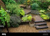 Terraced Garden Decking steps levels gravel design ...
