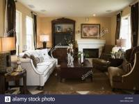 Cozy Living Room with Fireplace Stock Photo, Royalty Free