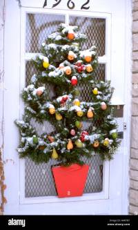 Front door Christmas tree decoration. St Paul Minnesota