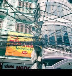 crazy telephone wiring in the old city of hanoi in vietnam in far east southeast asia telecom telecommunication street scene urban slum travel [ 1300 x 1000 Pixel ]