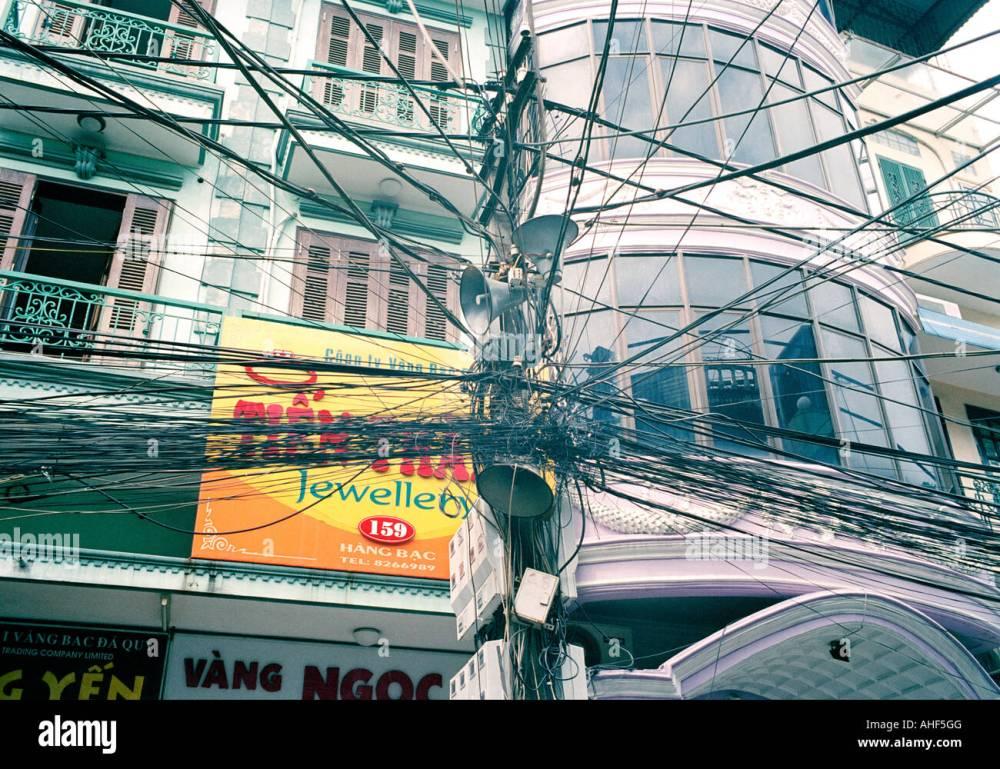 medium resolution of crazy telephone wiring in the old city of hanoi in vietnam in far east southeast asia telecom telecommunication street scene urban slum travel