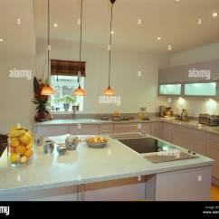 Kitchen Unit Led Lights Light Fixtures For Pendant Over Island With Halogen Hob And