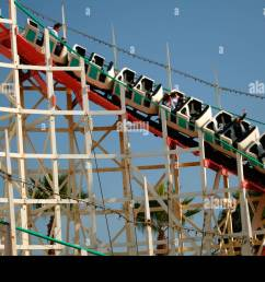 wooden rollercoaster belmont park mission beach san diego california [ 1300 x 955 Pixel ]