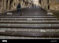 Large stair with ceramic tile ornaments in city ...