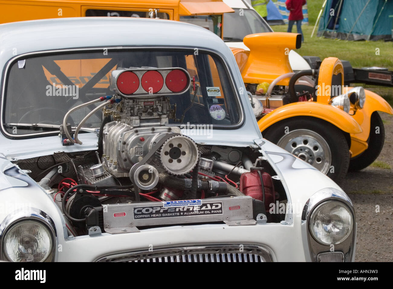 hight resolution of supercharged ford anglia popular drag car with v8 supercharged engine sticking out of bonnet