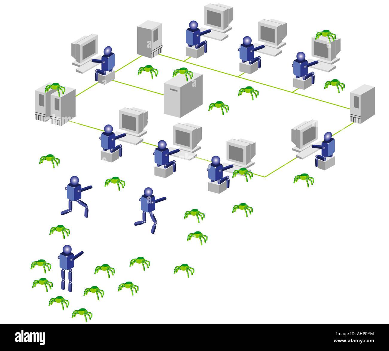 hight resolution of computer network digital illustration stock image