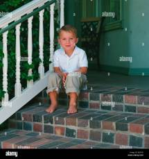 Barefoot Boy Sitting Stock