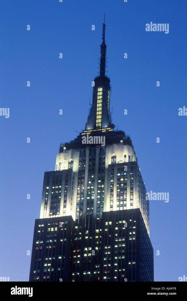 York City Empire State Building Lit White Lights Night Stock Royalty Free