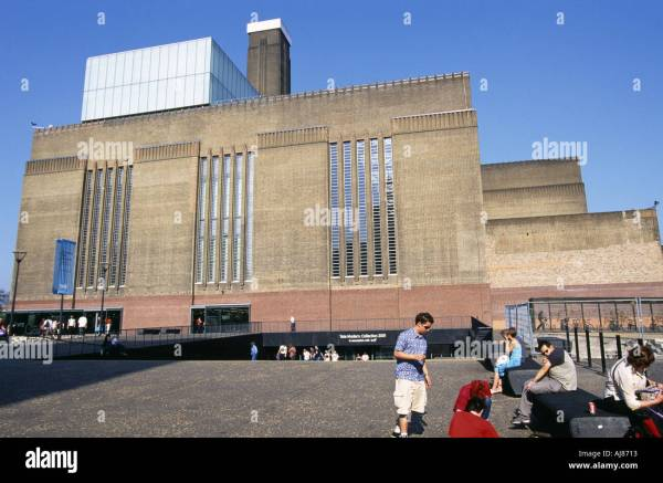 Tate Modern Art Exterior View People Sitting Opened Stock Royalty Free