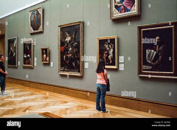 Woman Viewing Oil Paintings Art Museum John Paul Getty