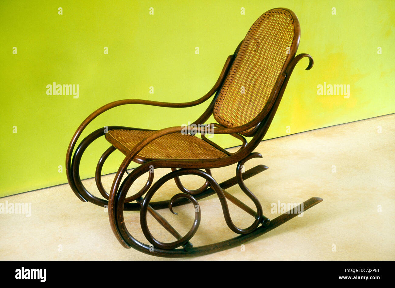 rocking chair cane red check tub bentwood 1930s stock photo 14828303 alamy
