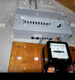 uk electrical fuse box under stairs of house with standard electricity meter stock image [ 1300 x 956 Pixel ]