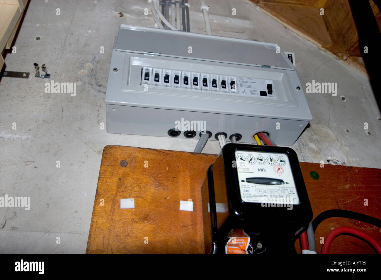 hight resolution of uk electrical fuse box under stairs of house with standard electricity meter stock image