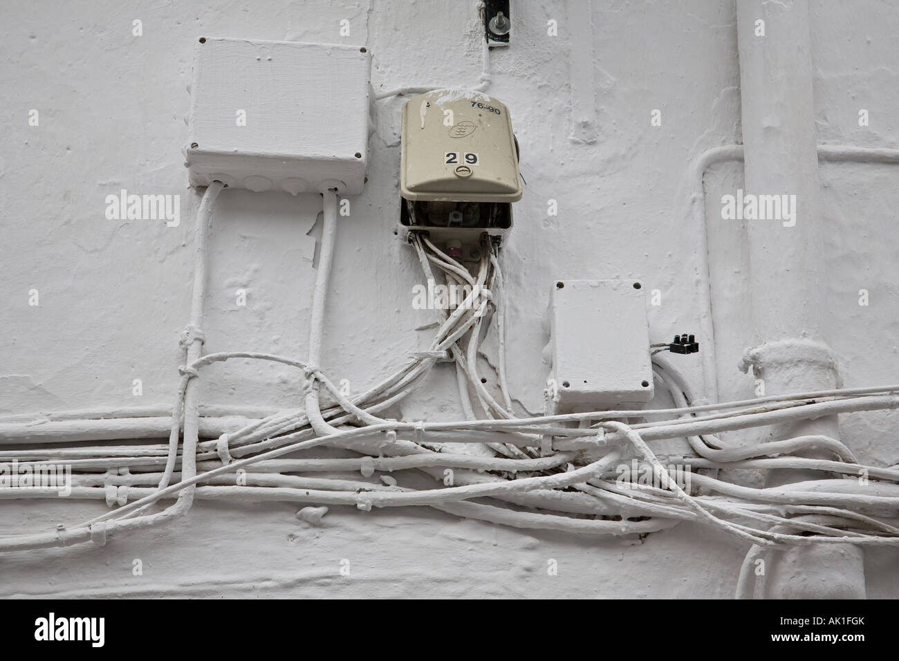 hight resolution of tangled electrical wiring on the outside of a building el gastor electrical wiring outside lights electrical wiring outside