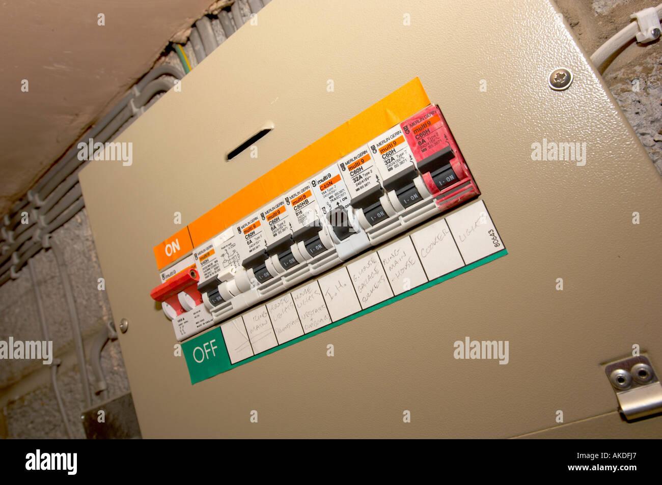 hight resolution of domestic fuse box circuit breaker stock image