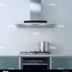 Exhaust Fan Kitchen Modern Cabinets Stainless Steel Extractor Above Pan On Hob In