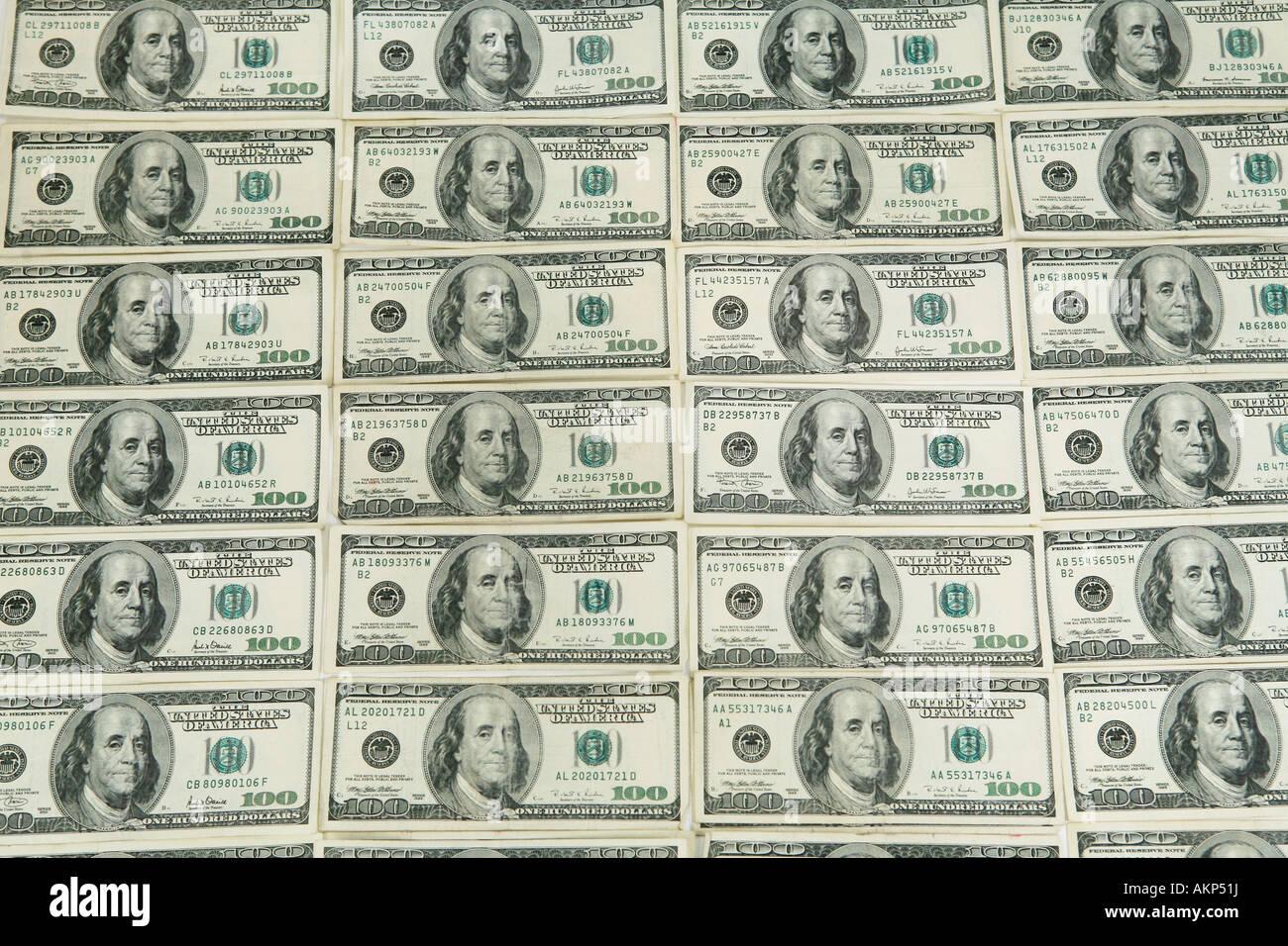 Wall Of One Hundred Dollar Bills American Money Stock