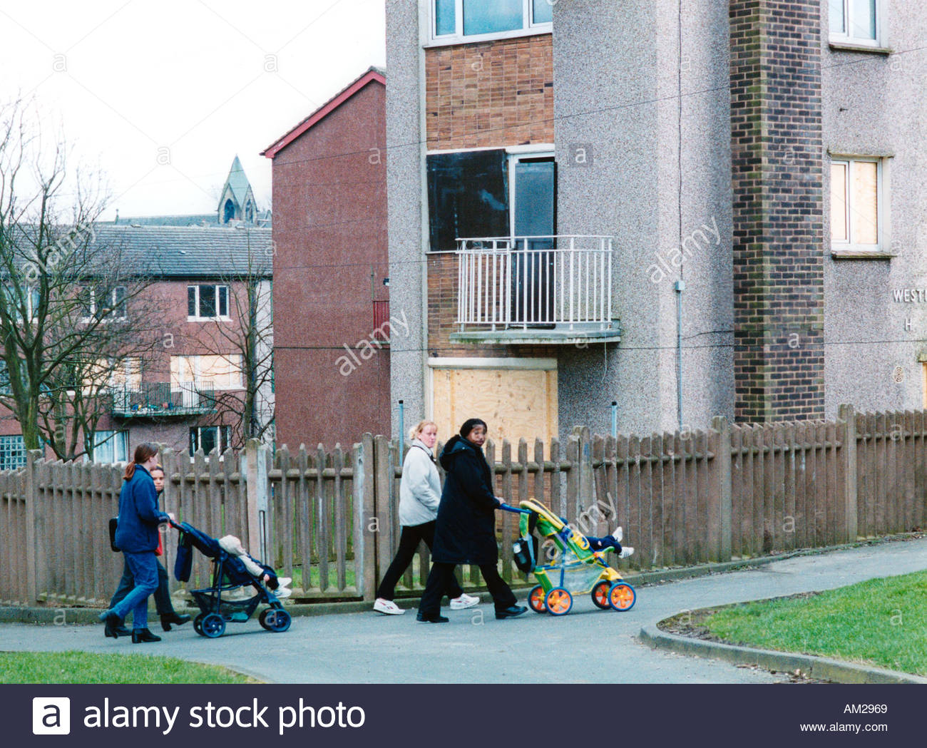 bradford council sofa removal teak outdoor sectional deprived child uk stock photos images alamy women walking their babies in buggys on housing estate yorkshire image