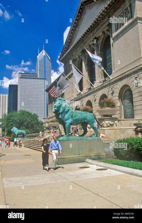 Entrance Art Institute Chicago Museum Stock