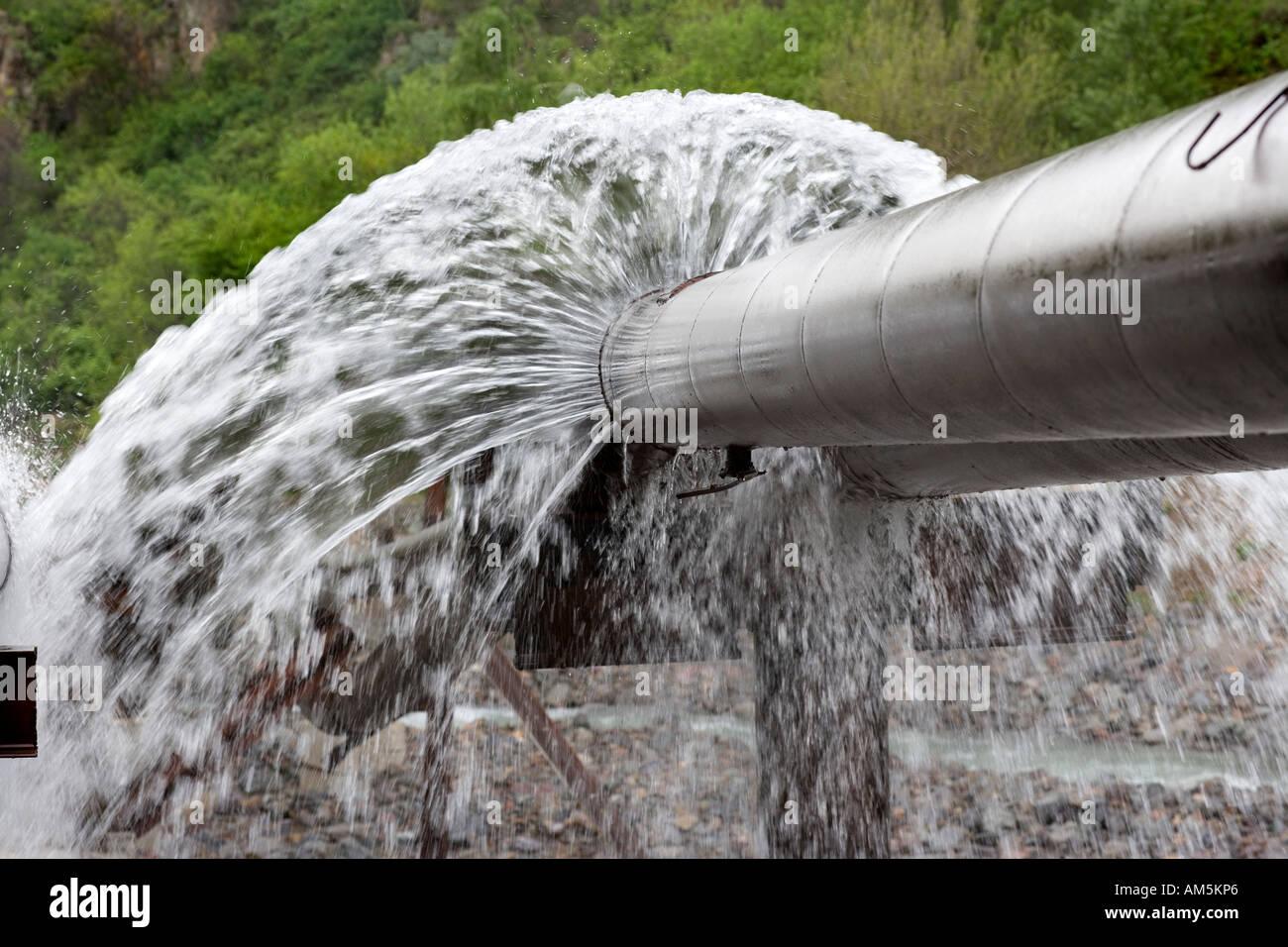 Water leak. Leaking pipes. Burst water pipes leaking