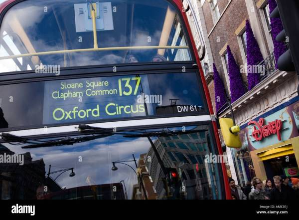 London Double Deck Bus Disney Store Oxford Street Stock Royalty Free