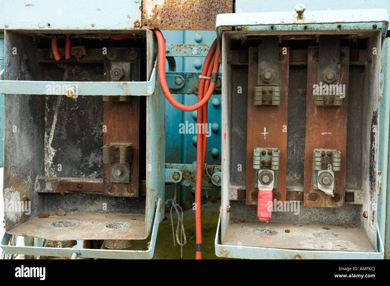 hight resolution of disused electrical fuse box on the site of the former john brown engineering clydebank glasgow scotland europe