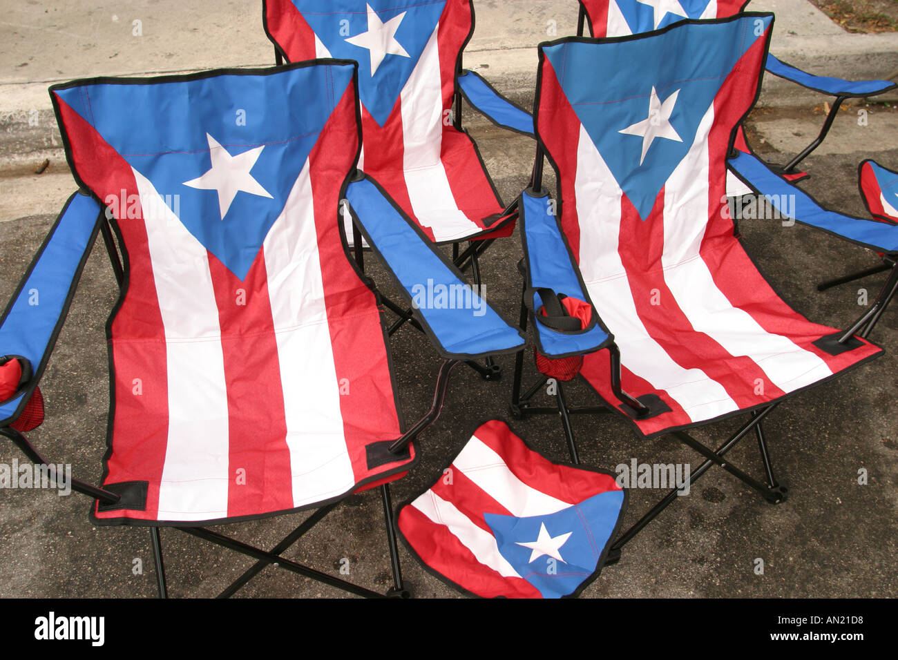 festival folding chair coalesse kart miami florida little havana calle ocho cuban fair chairs puerto rico flag theme
