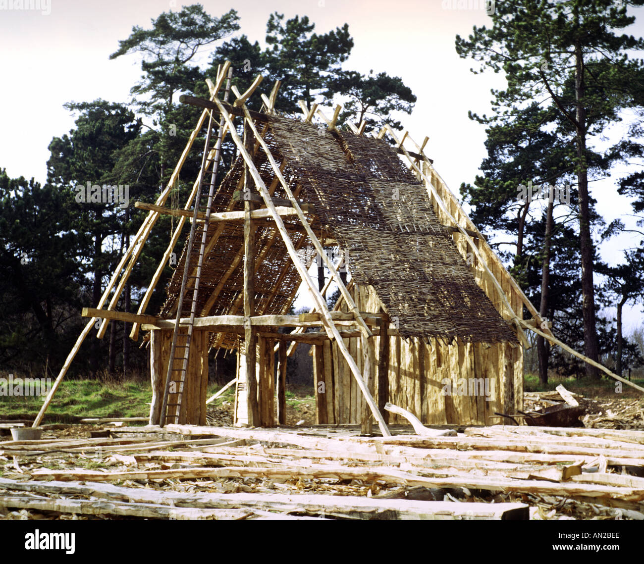 Reconstruction Of Anglo Saxon House West Stow Stock Photo