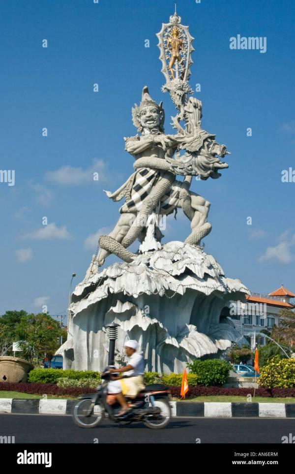 Enormous Hindu Statue Roundabout Kuta Bali Indonesia Stock Royalty Free