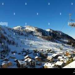 Buy Ski Lift Chair Maroon Office Chairs Winter In Malbun, Liechtenstein Stock Photo: 15436461 - Alamy