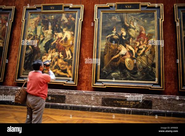 Tourists View Paintings Louvre Paris France