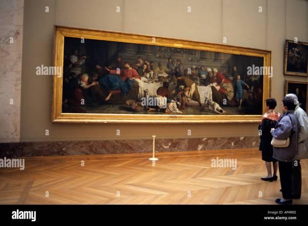 Tourists View Paintings Louvre Paris France