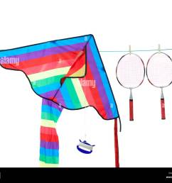 a kite and badminton rackets on a washing line stock image [ 1300 x 1064 Pixel ]