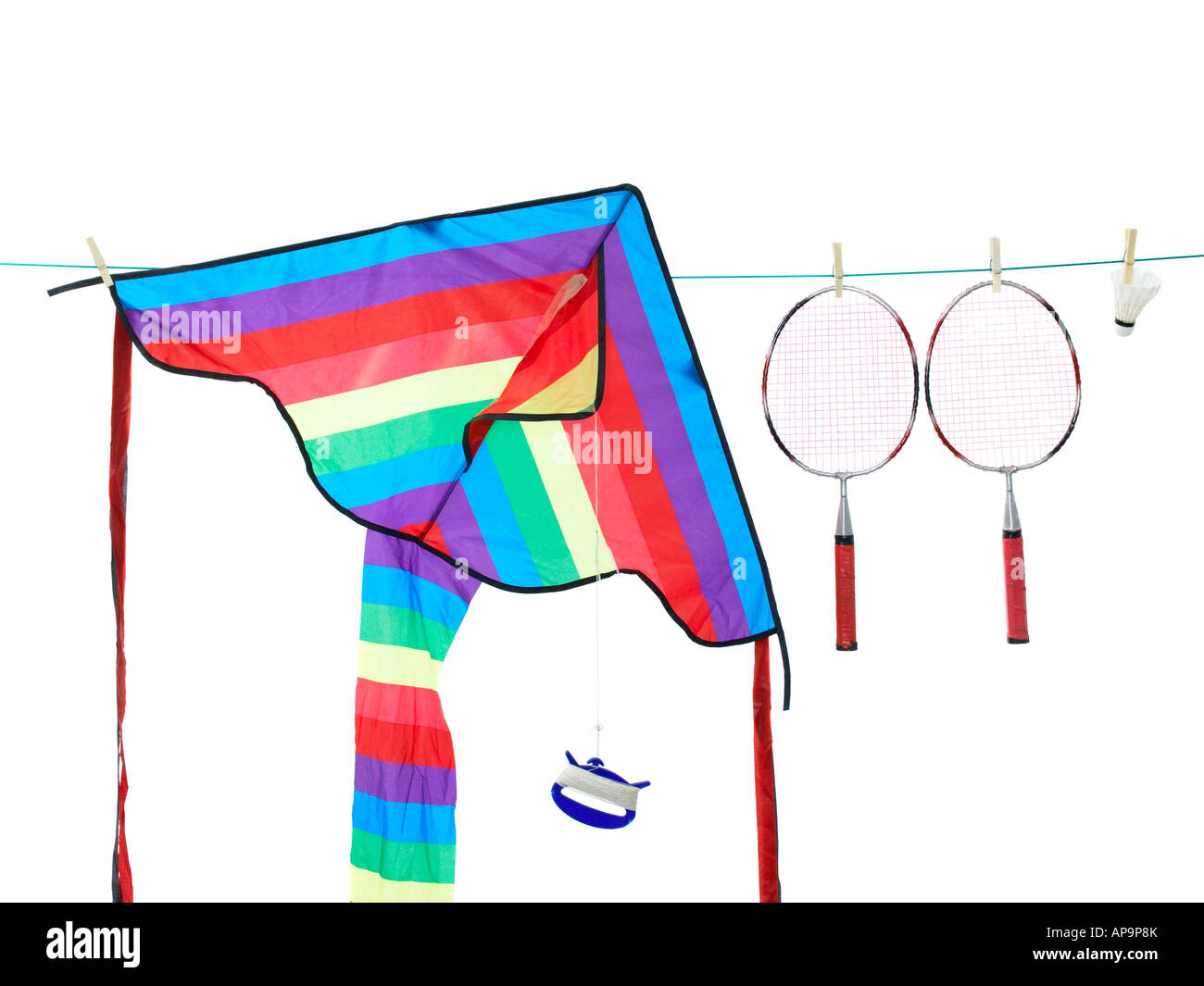 hight resolution of a kite and badminton rackets on a washing line stock image