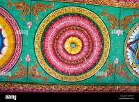 painted ceiling detail at the sri meenakshi temple in ...