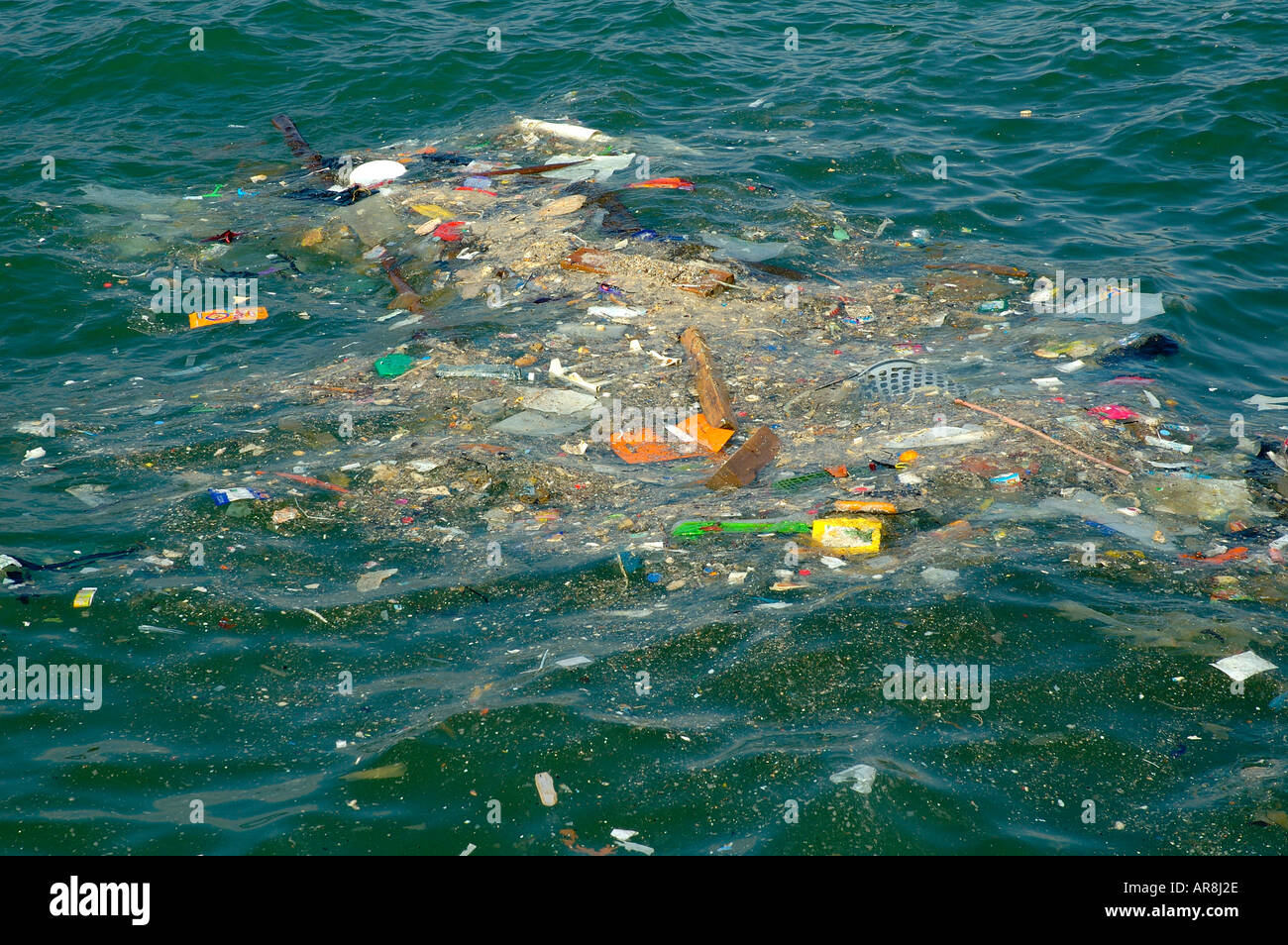 Sea Pollution By Plastic And Trash Stock Photo