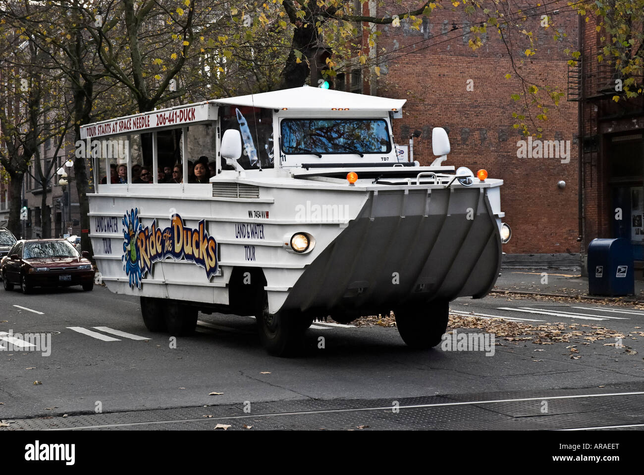 Open Air Touring Vehicle Land And Water Duck Moves Through