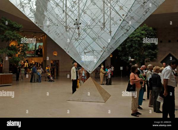 Musee Du Louvre Of Pyramid Stock &