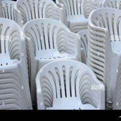 White Stacking Chairs Plastic Swing Chair Stand Quotwhite Stock Photo 16006721 Alamy