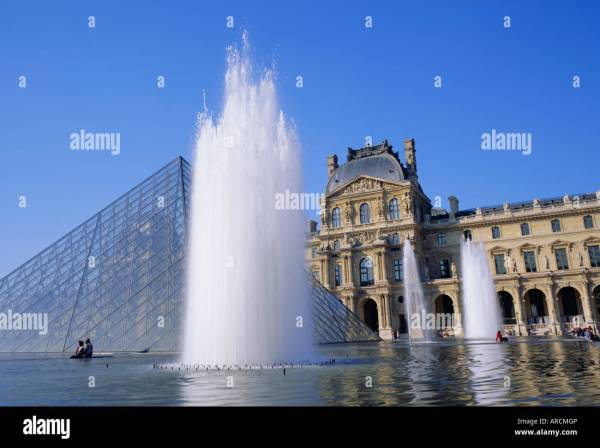 Pyramid Fountains Louvre Stock &