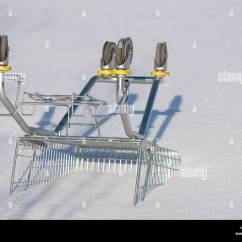Chair Rail Upside Down Dining Covers Canberra Shopping Cart Outdoors And Buried To Snow Stock Photo