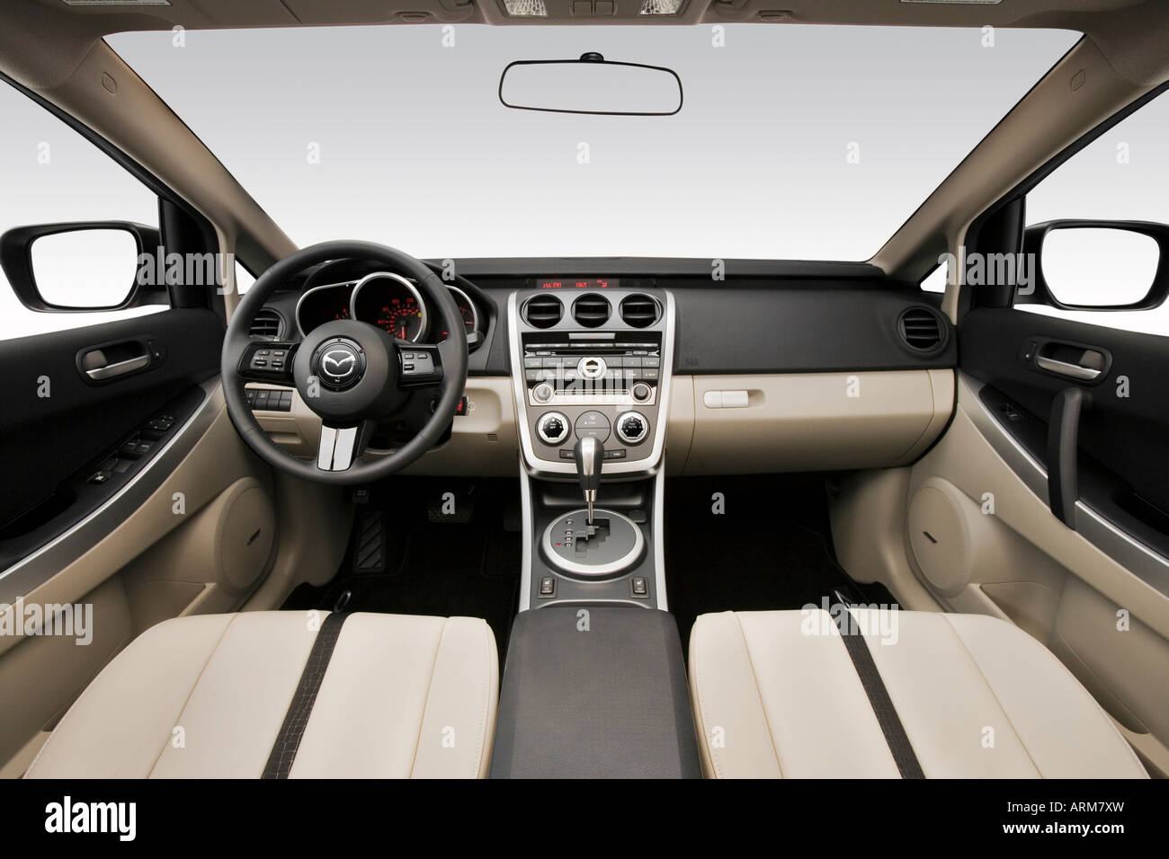 hight resolution of 2008 mazda cx 7 grand touring in silver dashboard center console gear shifter view