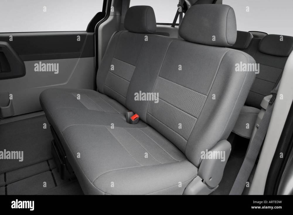 medium resolution of 2008 dodge grand caravan se in silver rear seats stock image